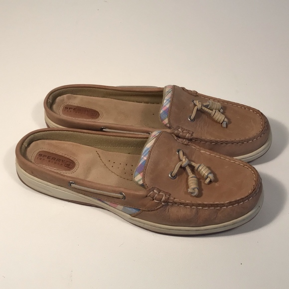 Sperry Leather Slip On Mules Women Size
